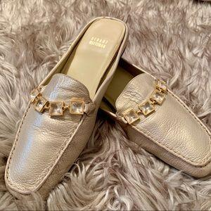 😍 Stuart Weitzman Gold Leather Slip On Loafers